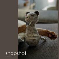 猫用のおもちゃオーガニックコットンで手編みしたぬいぐるみ-ハンドメイド-『あみあみネズミ』-猫おもちゃボール猫キック安心子猫猫用品日本製-