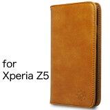 Xperia エクスペリア Z5 ケース カバー 手帳型 本革 レザー 財布型 カード ポケット スタンド機能 マグネット式 docomo SO-01H au SOV32 softbank 501SO 対応 XperiaZ5 キャメル