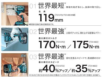 マキタTD148DRTX充電式インパクトドライバ【18V/5.0Ah】【青・黒・白・金(TD148DSP1)】インパクトドライバーAPT・ブラシレス【電動工具】