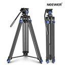 Neewer プロで頑丈なビデオ三脚 193cm アルミニウム合金 フルイドドラッグヘッド 左/右バーハンドルサポート ミッドレベルスプレッダー DSLRカメラビデオカメラ用 最大負荷重12kg