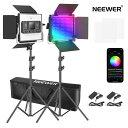 Neewer 2組480 RGB Ledライト APP制御 スタンドとバッグ付きの写真ビデオ照明キット 480個SMD LEDビーズ...