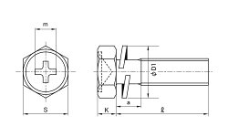 鉄/クローム(+)六角アプセットセムス[P=2]M5×15【小箱:1箱/600本入り】