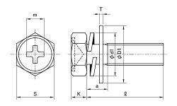 鉄/三価ステンコート(+)六角アプセットセムス[P=3]M6×8【小箱:1箱/400本入り】