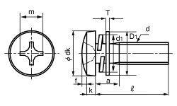ステンレス/SSブラック(+)バインドセムス[P=4]M3×10【小箱:1箱/1000本入り】