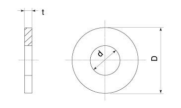 鉄/生地 丸ワッシャー [特寸] (公差: 10.5+0.27)10.5×20×2.0 【 バラ売り : 10個入り 】