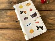 猫とフルーツ手帳型スマホケース・Mサイズ01