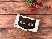 黒猫手帳型スマホケース・Mサイズ01