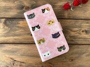 猫たちピンク手帳型スマホケース・Lサイズ01