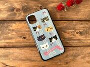 猫とリボンiPhone11用ハードケース・ブラック01