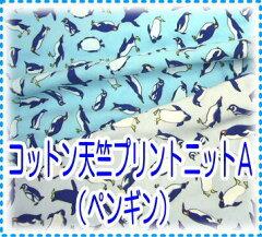 コットンにストレッチバツグンのゴム入りベア天竺プリント(ペンギン柄)【コットン】コットン...