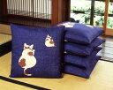 *綿つむぎ座布団カバー猫と鈴(5枚組)