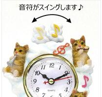 (*^_^*)☆新作!!猫・ふり~~ふり~~今何時だニャ〜♪(=^・・^=)、人気シリーズのNO'1☆~~テーブル時計~~★茶猫くつした・ニャンコ*音楽会,.,.,.一点限り入荷!!