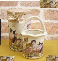 (^O^)/秋物新作★,.,.,.,.*アートデザインバスケット*,.,.,.,.なかよしニャンずだょ♪【食器セットかわいい猫ねこネコ猫雑貨カップ