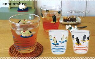 (^O^)/今夏新作!!☆~~とってもかわいい・耐熱グラス・フライングお座布団猫ブラックカラー
