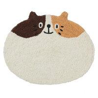 ☆大人気NO,!★ネコ(猫)の♪バス・ミニフロアーマット三毛猫顔猫