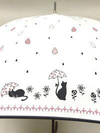 (^O^)/猫の手!!新作!!☆~~Lecielブランド春夏新作!!・・・・白猫にゃん・と・お散歩・Drop・キラキラ・・~~☆ピンク強風や雪に強い12本傘ジャンプ式
