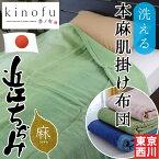 西川 本麻肌掛け布団 シングル 150×200cm 季ノ布「鳰の浦風」洗える 近江ちぢみ 日本製