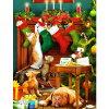 猫と犬のミニクリスマスカードクリスマスソックスと猫