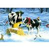 【リンダ・ピッケン】猫と動物たちのクリスマスカード雪の中の牛の親子と猫
