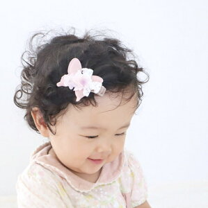 パウダーカラー スノーレースのちょうちょヘアクリップ】ヘアアクセサリー クリップ ベビー キッズ 赤ちゃん 前髪 子ども 花 髪飾り 髪留め 女の子