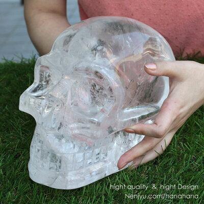≪約8460グラム≫◆天然石 カービング◆ドクロ 天然水晶 レインボー 置き物【約8460グラム/...