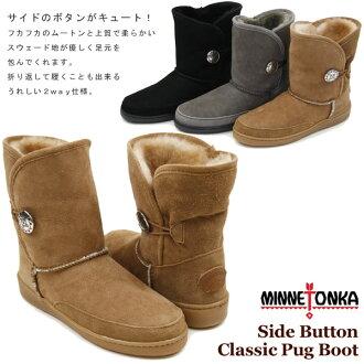 Minnetonka (MINNETONKA) Sidebotham classic Pug Sheepskin boots (Side Button Classic Pug Boot)