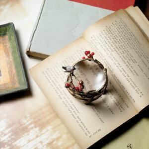『簡易ラッピング対象』efluvi【小鳥と赤い実の置き型ルーペ】PaperWeightLoupe(ペーパーウェイトルーペ)/書斎や客室などのインテリアにも最適