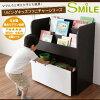 リビングキッズファニチャーシリーズ【SMILE】おもちゃ箱付き絵本ラック