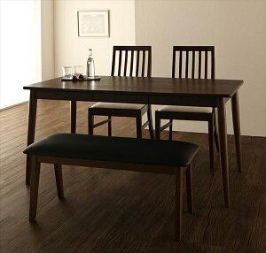 ファミリー向け タモ材 ハイバックチェアダイニング Daphne ダフネ 4点セット(テーブル+チェア2脚+ベンチ1脚) W150 ダイニング4点セット テーブル 便利な引き出し付き 木製