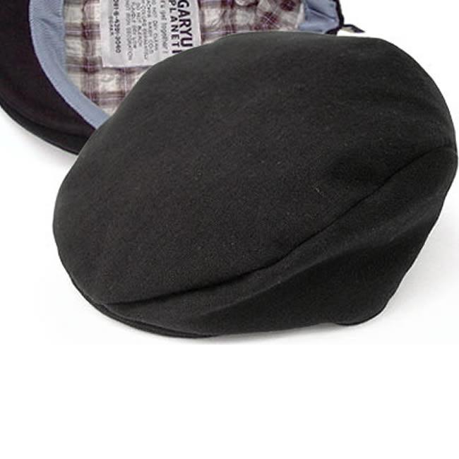 日本製 ハンチング メンズ ハンチング帽 綿100% やわらかダブルガーゼ ハンチング帽子 黒 56cm〜62cm  GARYU PLANET ガリュープラネット メンズ・紳士 男性用 男女兼用 帽子 ハット ぼうし