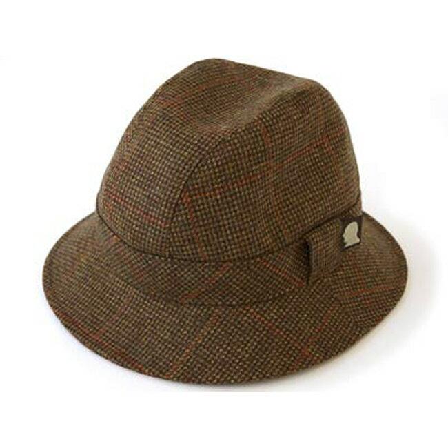 6fe5f60a029e87 日本製 中折れハット メンズ 中折れ帽 中折れ 帽子 チェック ツイードのウォーキング ハット(こげ茶)56~59cm GARYU PLANET  ガリュープラネット メンズ?