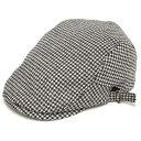 日本製 ハンチング メンズ ハンチング帽 千鳥格子ウール サイドベルト ハンチング(白x黒)57〜60cm  GARYU PLANET ガリュープラネット メンズ・紳士 男性用 男女兼用 帽子 ハット ぼうし