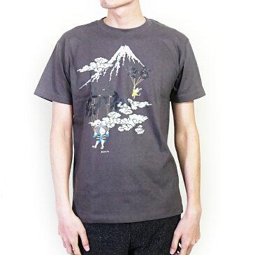 ゲゲゲの鬼太郎コラボ 空旅シリーズ(富士山) / 和風Tシャツ フルカラー転写プリント メンズファッション プリントTシャツ 半袖 レディースファッション ワンポイントTシャツ 重ね着 クルーネック ユニセックス