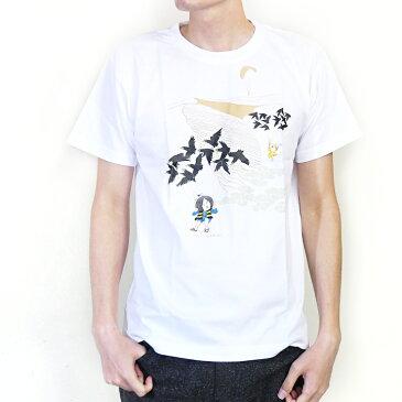 ゲゲゲの鬼太郎コラボ 空旅シリーズ(鳥取砂丘) / 和風Tシャツ フルカラー転写プリント メンズファッション プリントTシャツ 半袖 レディースファッション ワンポイントTシャツ 重ね着 クルーネック ユニセックス