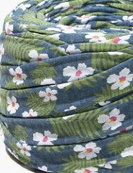 【Tシャツヤーン】ヒビカスパームリーフブルー/ハワイアンスタイル/モノポップMONOPOPTシャツヤーン/ズパゲッティスタイル