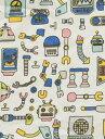 組み立てる前のロボットを連想させるかわいいロボットスモールパターンです!寝具カバー類やカ...