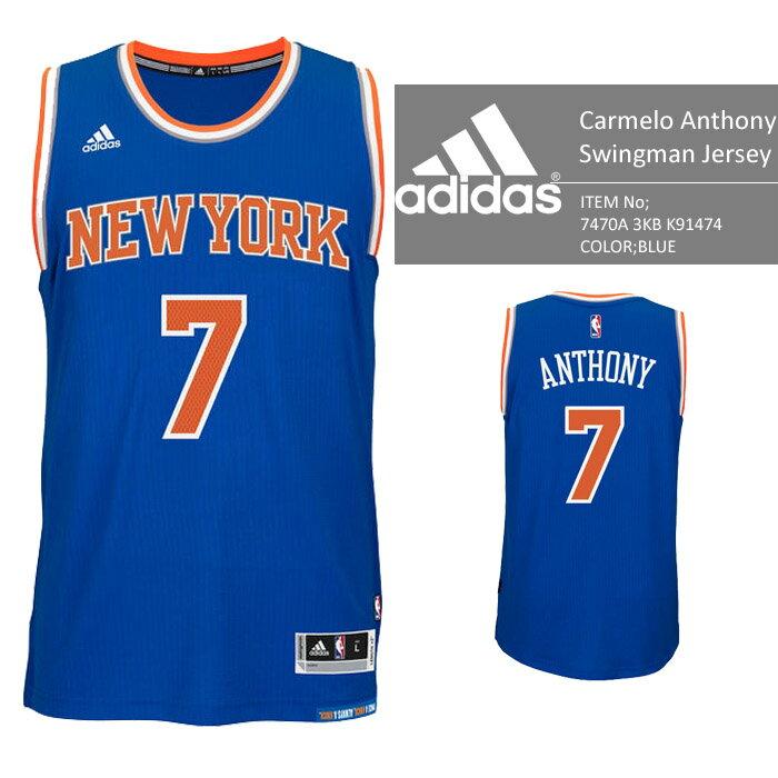 adidas New York KNICKS NBA Carmelo Anthony Swingman Jersey Authentic Blue バスケ レプリカ ユニフォーム ジャージ ゲームシャツ カーメロアンソニー バスケット アディダス オーセンティックジャージー