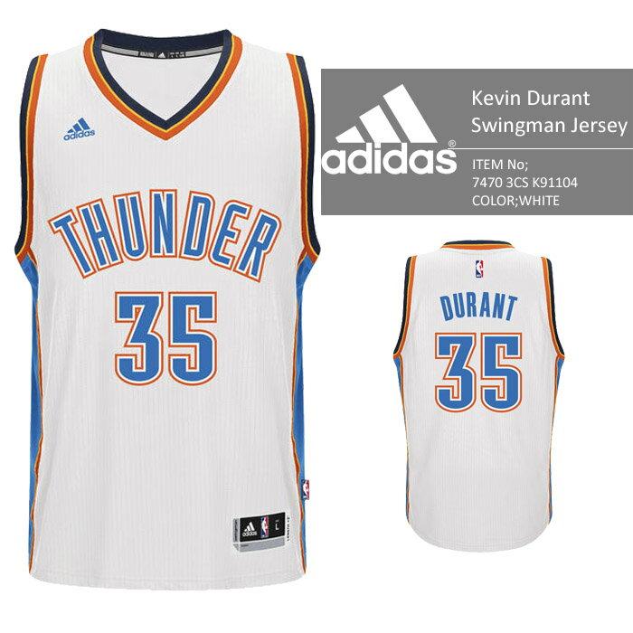 adidas Oklahoma City THUNDER NBA KEVIN DURANT Swingman Jersey Authentic White バスケ レプリカ ユニフォーム ジャージ ゲームシャツ ケビンデュラント バスケット KB アディダス オーセンティックジャージー