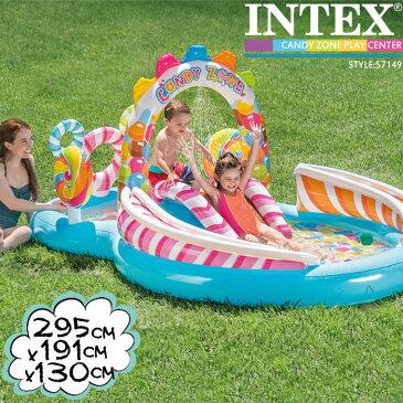 インテックス ビニールプール INTEX キャンディプレイセンター 57149 大型プール 295×191×130cm 滑り台つき シャワーつき ds-Y
