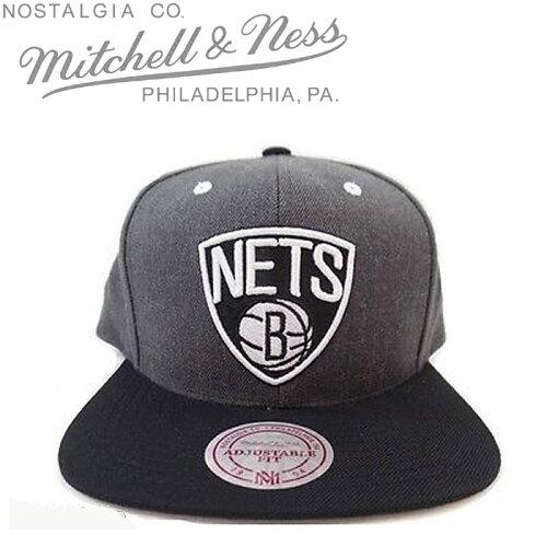 MITCHELL&NESSNBABlooklynNetsDarkHeatherCharcoalミッチェル&ネススナップバックキャップ帽子ベースボールキャップキャップバスケットバスケットボールブルックリンネッツ