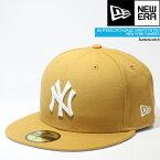 ニューエラ 帽子 キャップ NEWERA BUTTERSCOTCH BASIC 59FIFTYFITTED New York Yankees ニューヨーク ヤンキース MLB メジャーリーグ ベースボール イチロー 松井秀喜 田中将大▲[ブラウン][イエロー][ZRC]