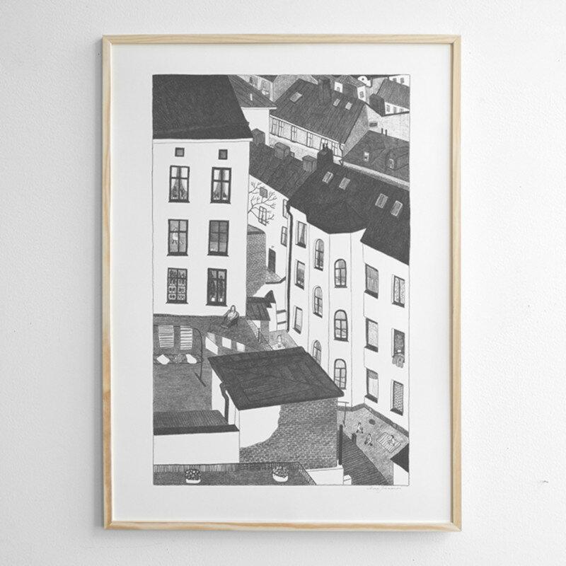 Fine Little Day GARDSUTSIKTEN ポスター 70x100cm モノクロ ファインリトルデイ 北欧 スウェーデン