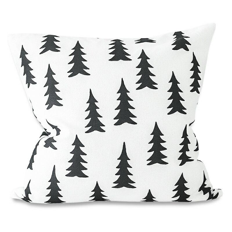 【綿100%】Fine Little Day モミの木柄 クッションカバー ブラック&ホワイト ファインリトルデイ 北欧 スウェーデン【メール便OK】