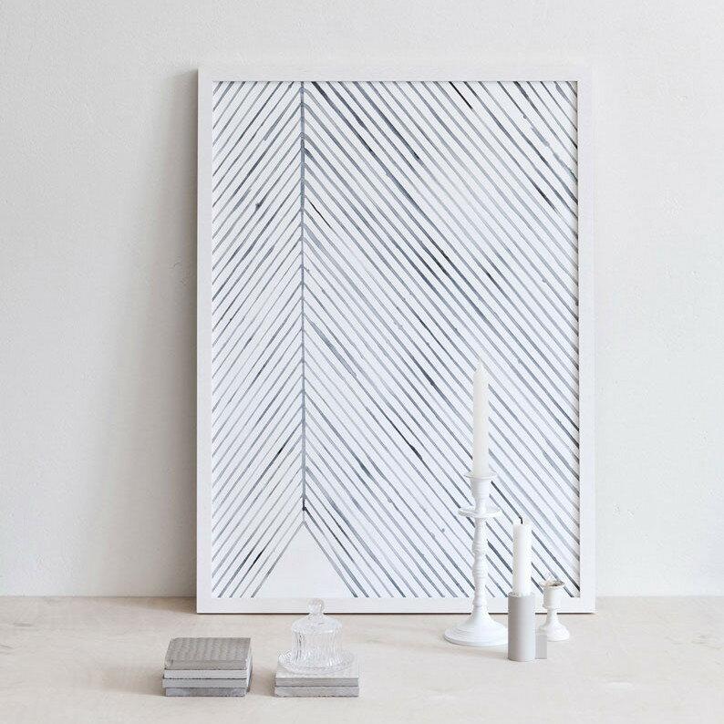 Silke Bonde 「Leaf lines/葉脈(ブルー)」 50x70 アートポスター 北欧 デンマーク