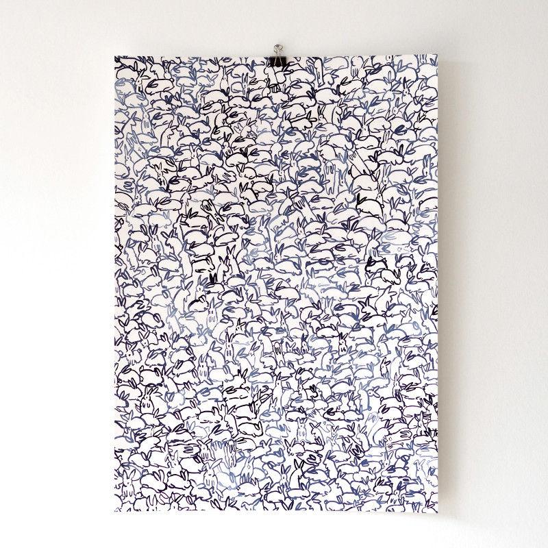 Silke Bonde 「Rabbit/うさぎ」 50x70 アートポスター 北欧 デンマーク