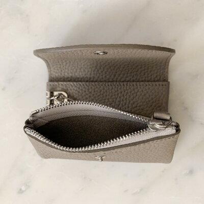 STUDIOLACAUSEシュリンクレザー内縫いフラップキーケース/ミニ財布ネイビー日本製