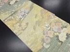 本金鶴に花屋敷風景模様織り出し袋帯【リサイクル】【中古】