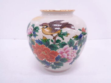 作家物 九谷焼 金彩色絵牡丹花瓶【1819OFF】【バーゲン】
