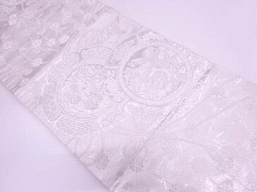 鏡裏に花鳥模様織出し袋帯【アンティーク】【中古】(リメイク・材料用)