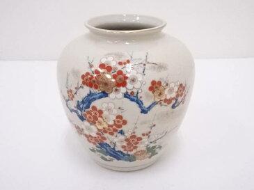 九谷焼 栄山造 金彩色絵紅白梅花瓶【1819OFF】【バーゲン】
